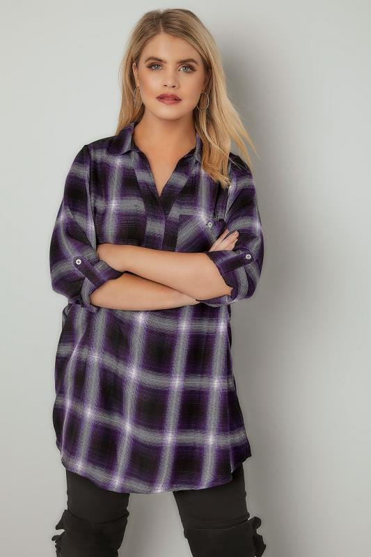 Purple Oversized Checked Shirt With V-Neck