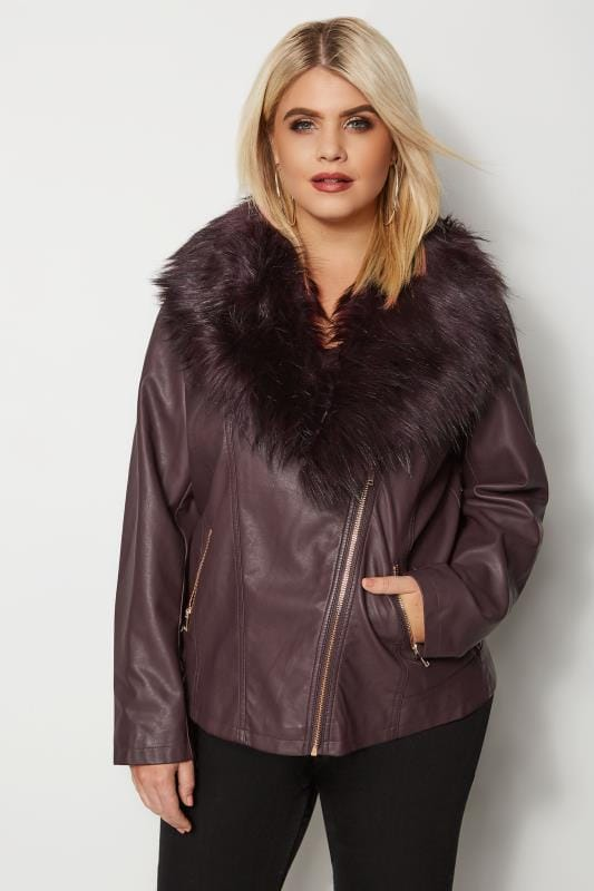 Plus Size Ladies Leather Look Jackets