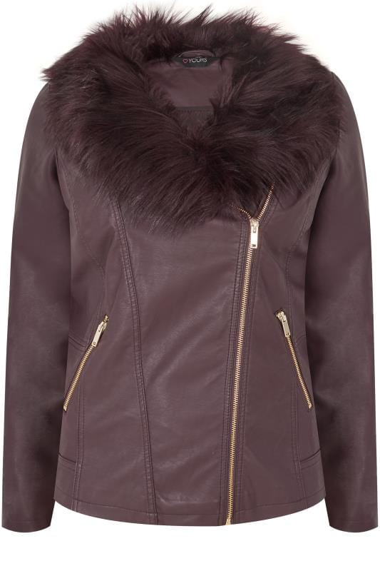 Plus Size Leather Look Jackets Purple PU Leather Look Biker Jacket With Faux Fur Collar