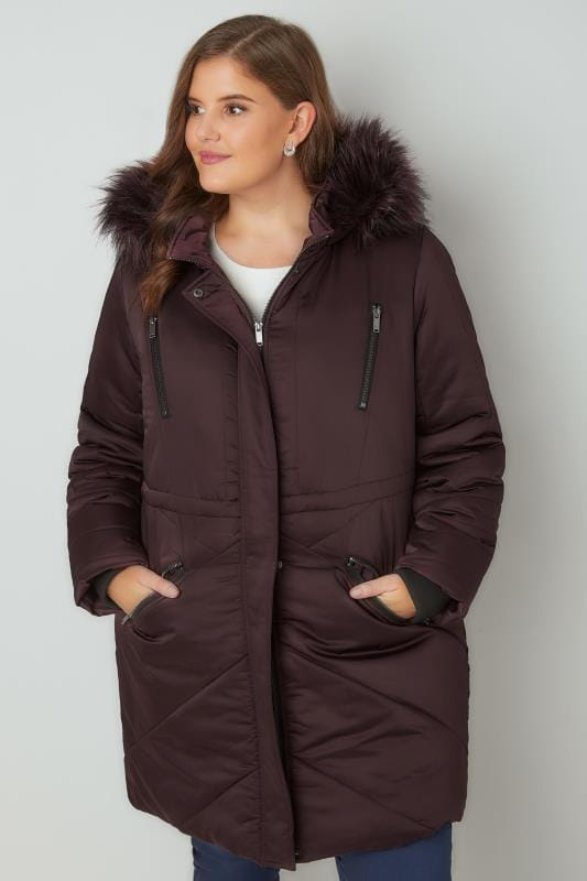 Purple Padded Parka Jacket With Faux Fur Hood