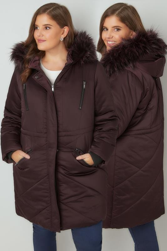 Plus Size Coats Purple Padded Parka Jacket With Faux Fur Hood