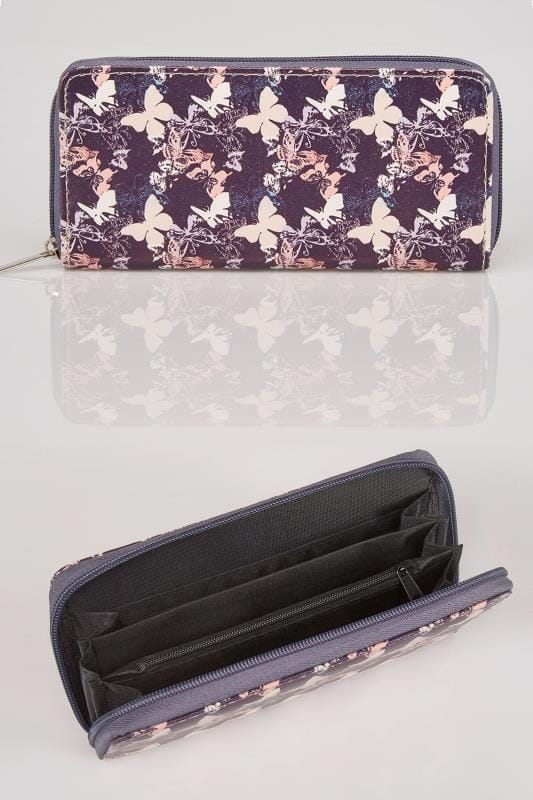 Purple & Peach Faux Leather Butterfly Print Zip Purse