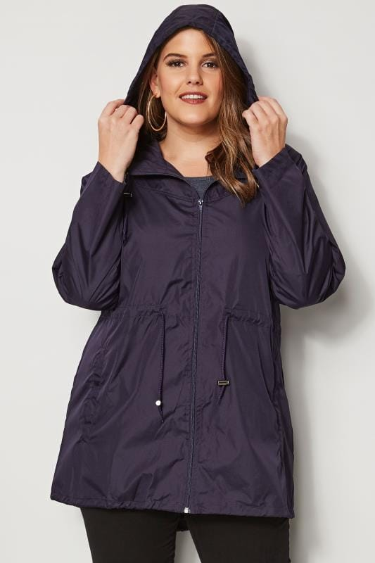 Plus Size Parkas Purple Pocket Parka Jacket With Hood