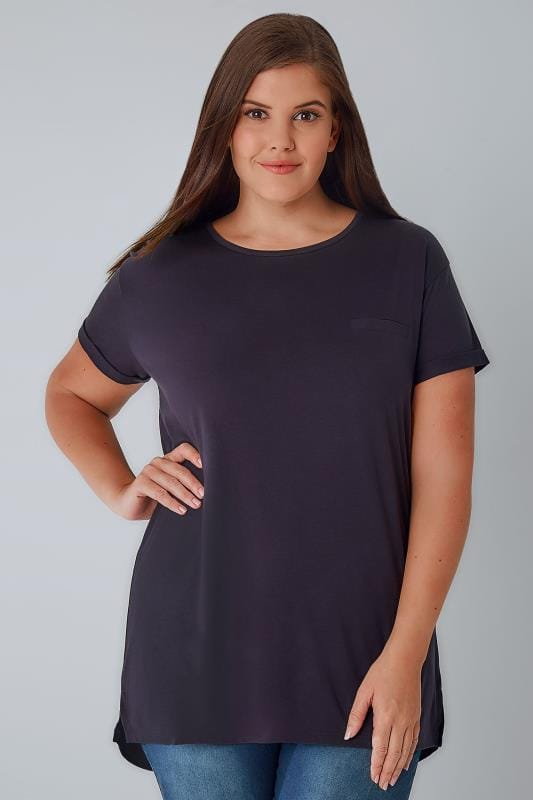 Purple Pocket T-Shirt With Curved Hem