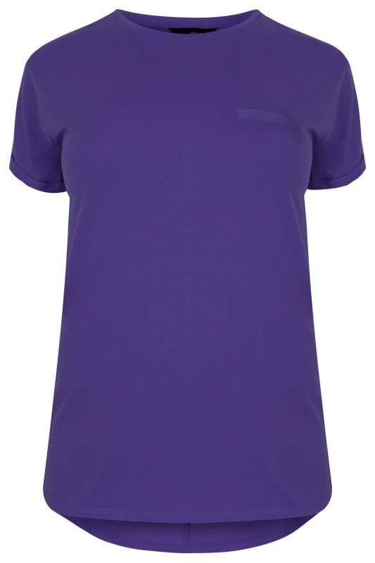 Jersey Tops Purple Mock Pocket T-Shirt With Curved Hem 132623