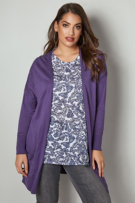 Purple Pointelle Longline Cardigan With Pockets