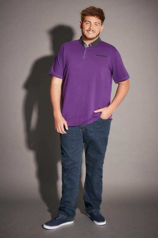 Purple Polo Shirt With Contrast Polka Dot Collar & Pocket Trim