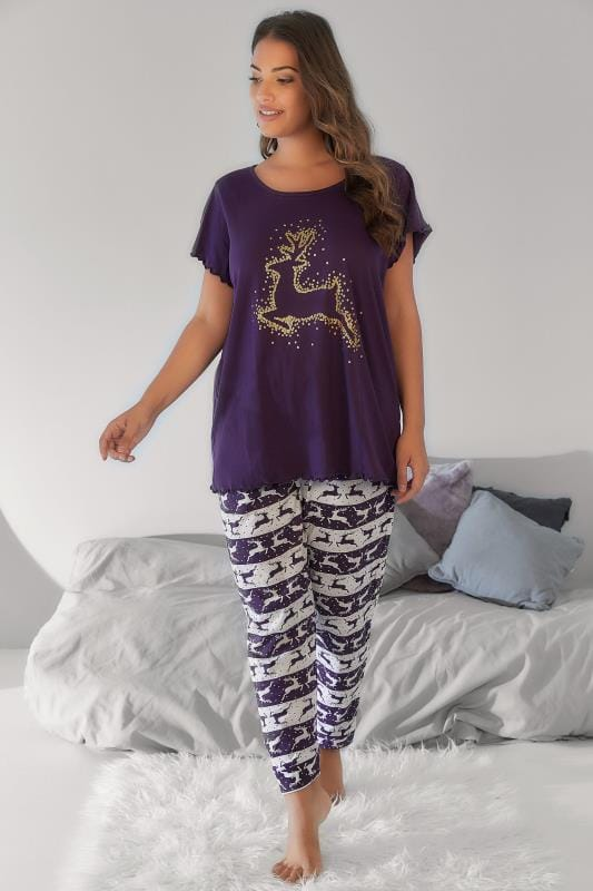 Pyjama Sets Purple Christmas Reindeer Print Pyjama Set 148114