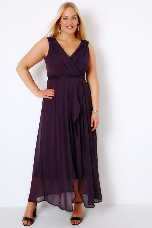 Purple Ruched Chiffon Maxi Wrap Dress With Lace Detail
