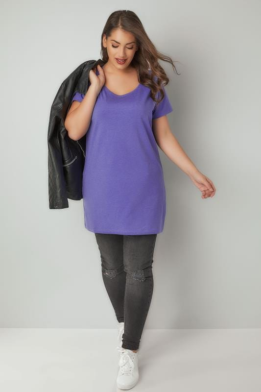Purple Scoop Neck Longline Jersey T-Shirt