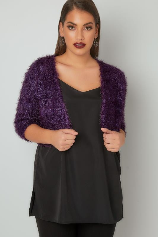 Purple Sequin Embellished Eyelash Shrug