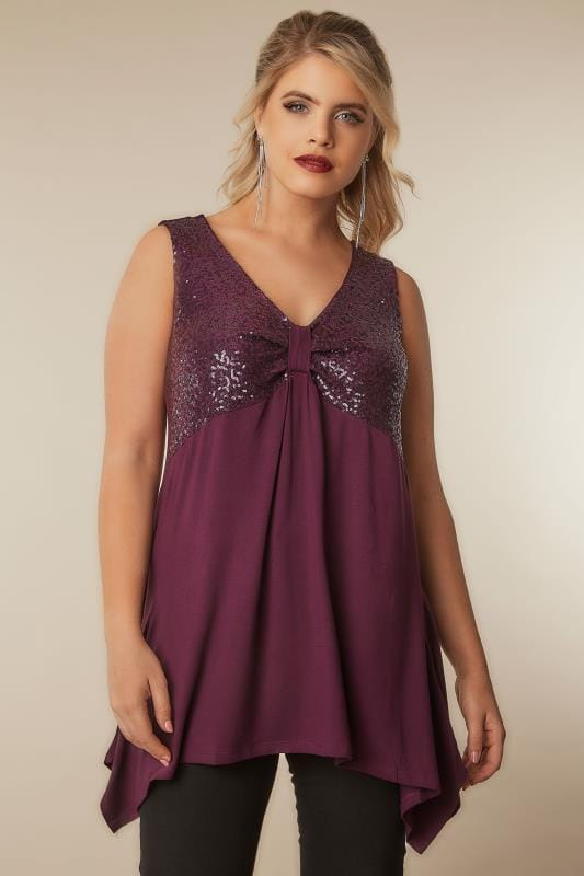Purple Sequined Top With Hanky Hem