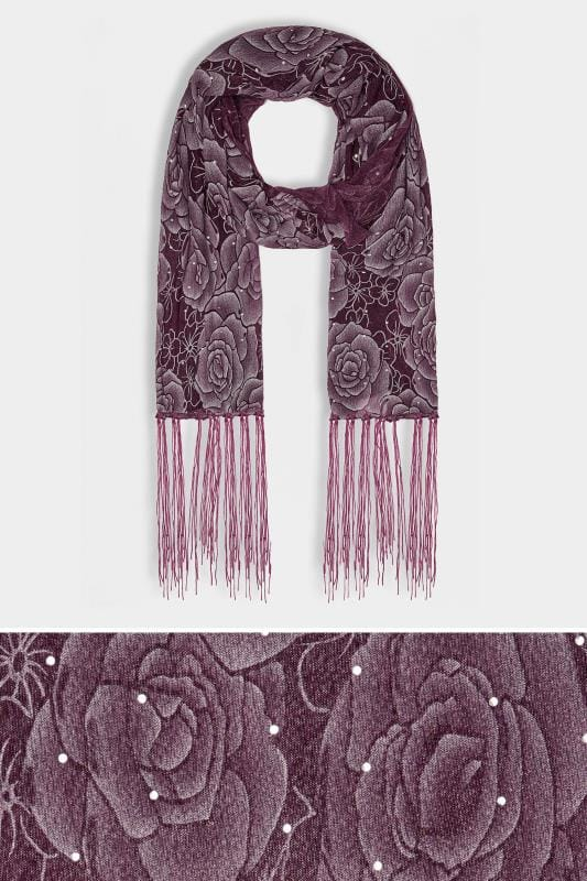 Purple Sheer Floral Print Scarf With Diamante Details