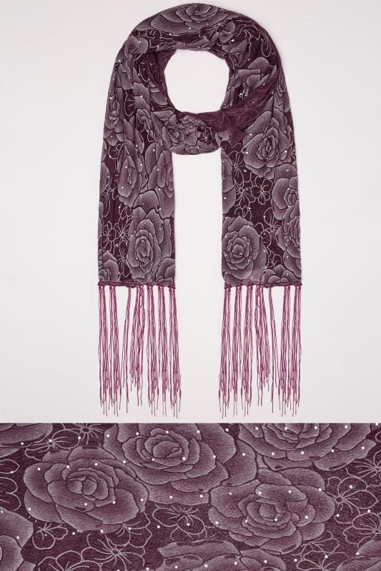 Scarves Purple Sheer Floral Print Scarf With Diamante Details 152475
