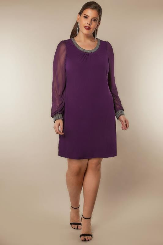 Purple Dress With Beaded Neckline & Cuffs