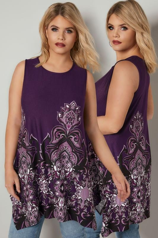 Plus Size Jersey Tops Purple Sleeveless Paisley Swing Top With Hanky Hem