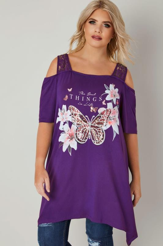 Plus Size Jersey Tops Purple Slogan Jersey Cold Shoulder Top With Sequin Details