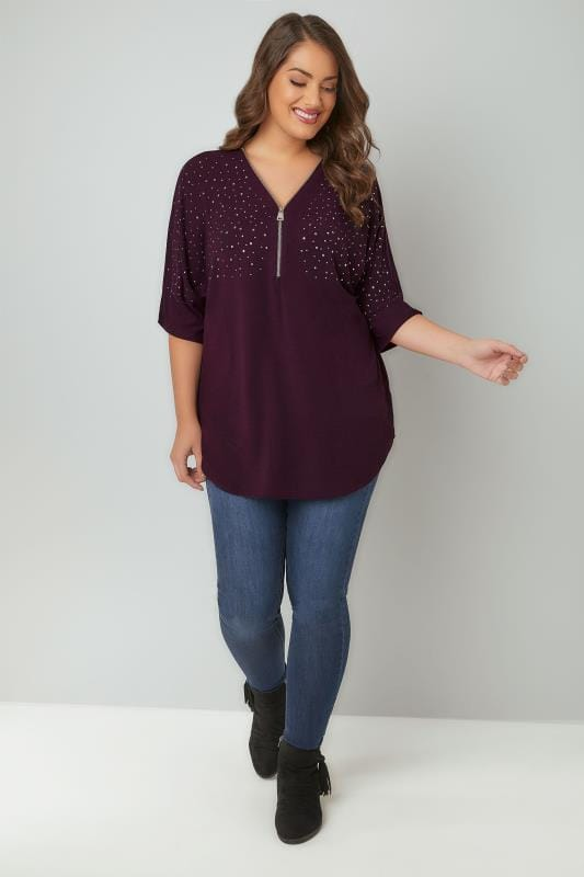 Purple Space Dye Fine Knit Embellished Top With Zip Front