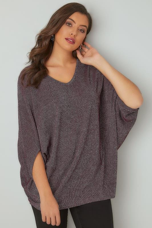 YOURS LONDON Purple & Metallic Fine Knit Longline Top With Slouchy Cape Sleeves