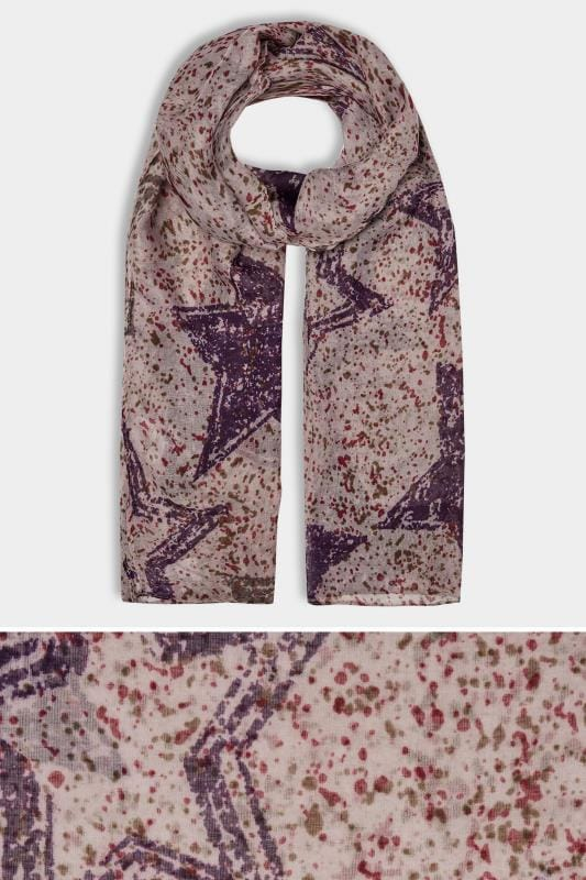 Purple Splattered Star Print Scarf