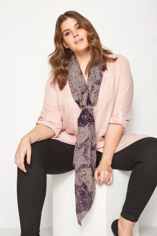 Plus Size Scarves Purple Splattered Star Scarf