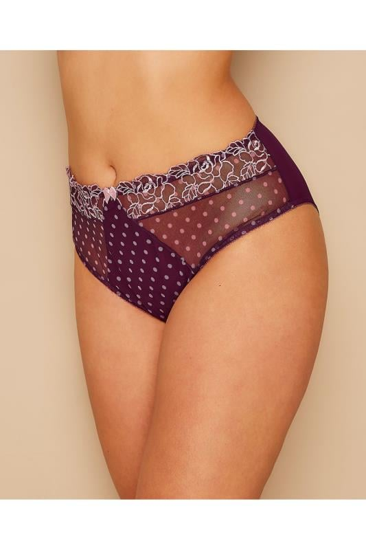 Briefs Purple Spotted Brief With Embroidered Lace Trim 101474