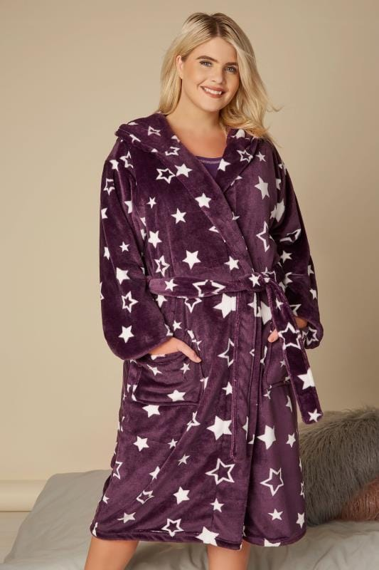 Plus Size Nightgowns Purple Star Dressing Gown