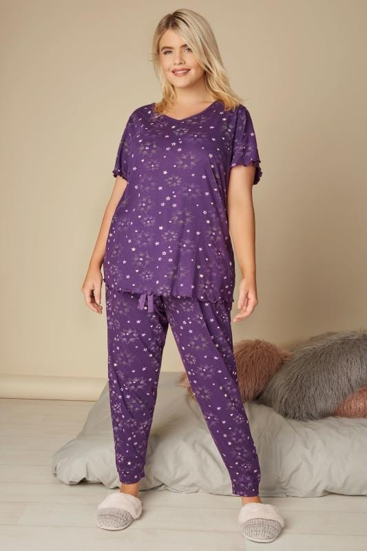 Purple Star Print Cuffed Pyjama Bottoms