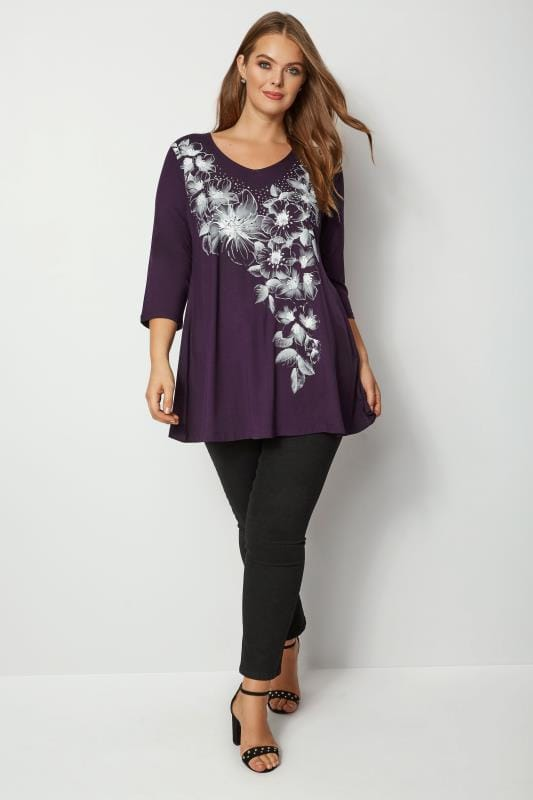 Plus Size Day Tops Purple Stud Floral Swing Top