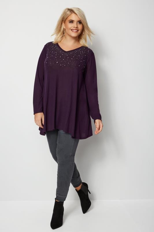 Plus Size Knitted Tops & Jumpers Purple Stud Swing Top