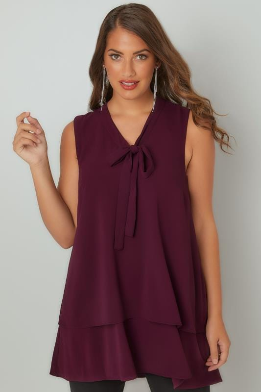 Purple Swing Blouse With Pussy Bow Tie, Plus Size 16 To 36-4252