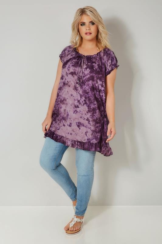 Purple Tie Dye Gypsy Top With Frill Hem