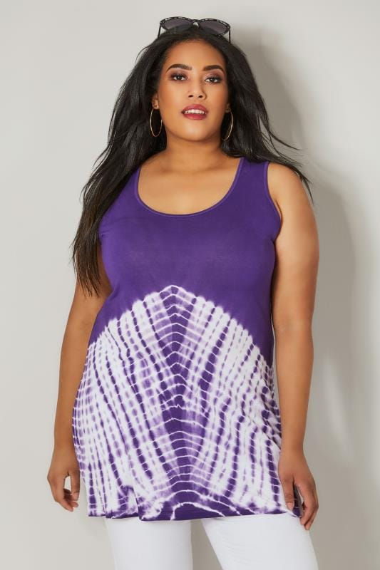Purple Tie Dye Print Swing Vest Top