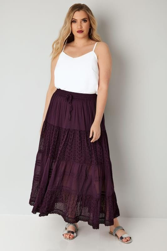 Purple Tiered Broderie Maxi Skirt