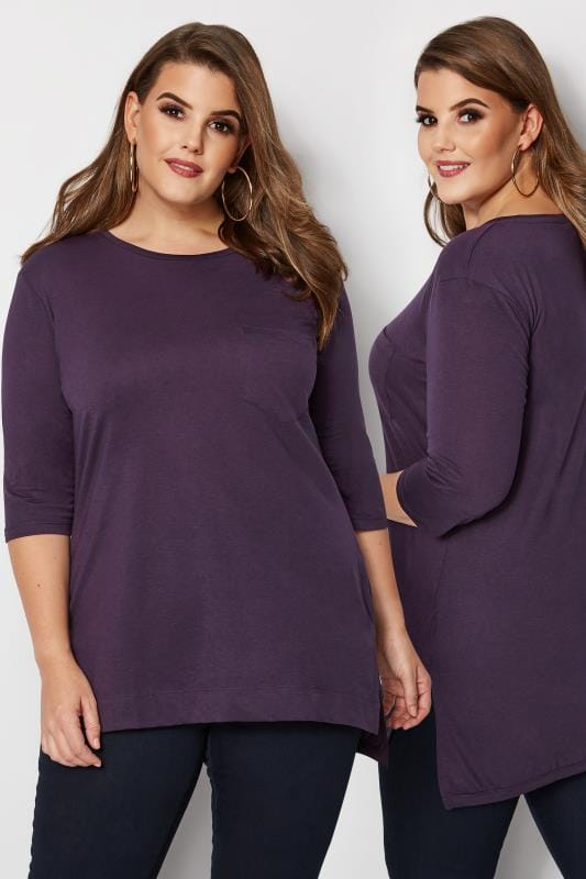 Plus Size Jersey Tops Purple Top With Chest Pocket