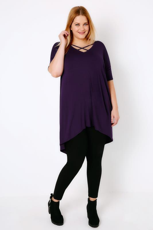 Purple Top With Cross Over Front & Extreme Dipped Hem