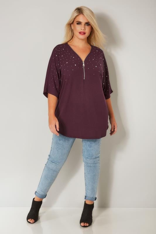 Purple Zip Top With Stud Details