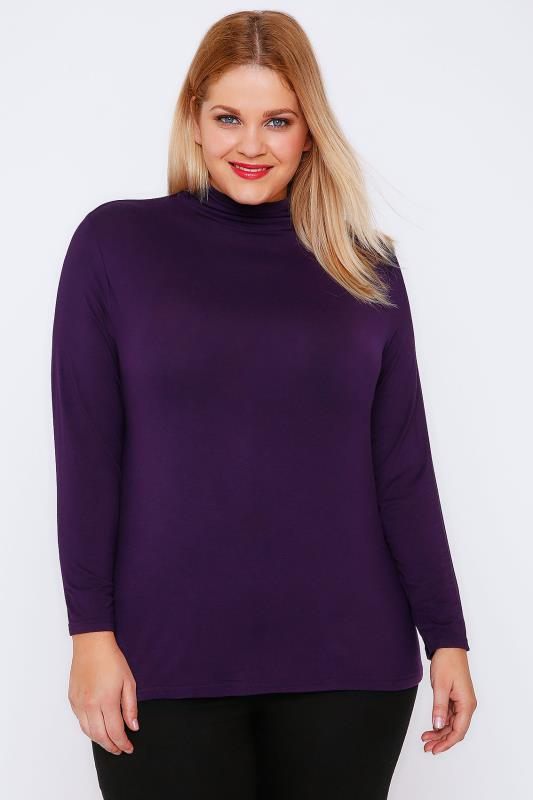 YOURS LONDON Purple Turtle Neck Long Sleeved Soft Touch Jersey Top