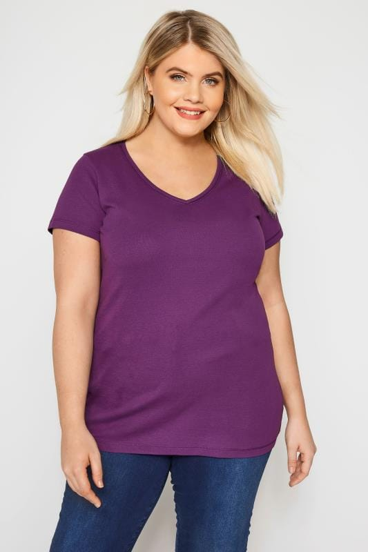 f004cac2 Purple V-Neck T-Shirt | Plus Sizes 16 to 36 | Yours Clothing