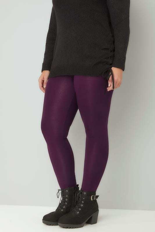 Basic Leggings Purple Viscose Elastane Leggings 142106