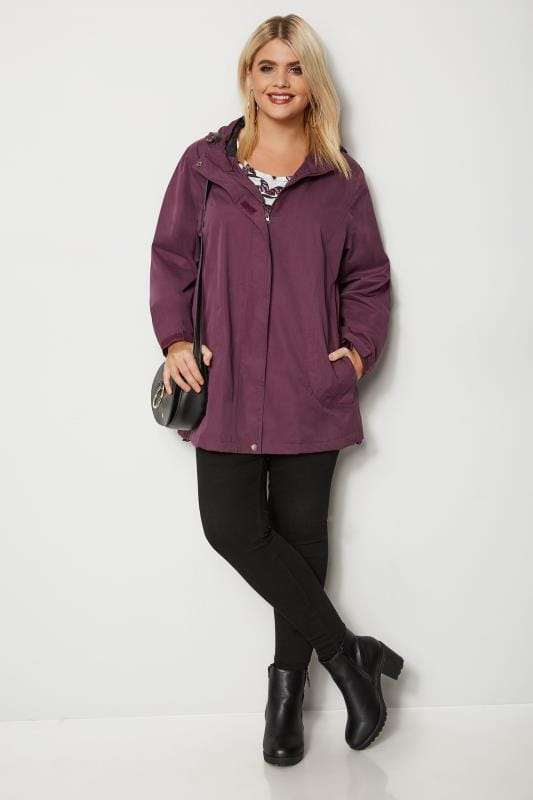 Plus Size Coats Purple Waterproof & Windproof Coat