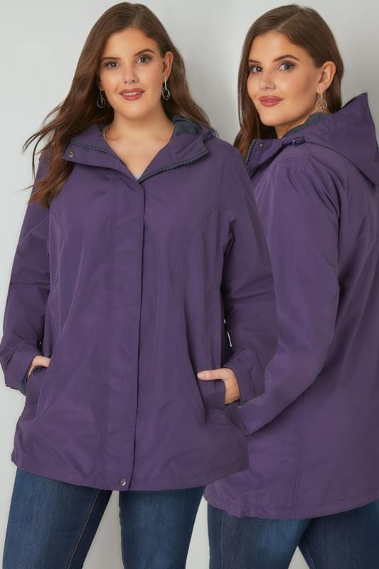 Plus Size Rain Coats Purple Waterproof & Windproof Jacket With Hood