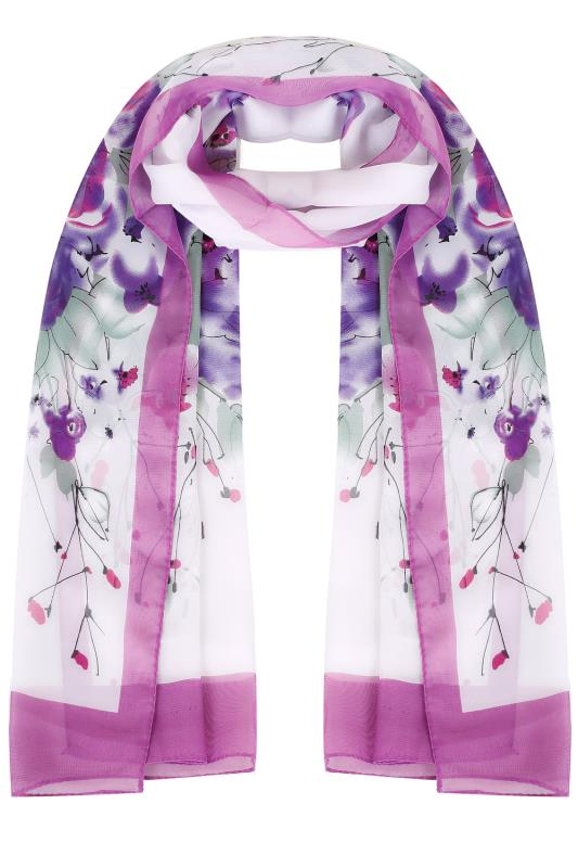 Purple & White Floral Print Woven Sheer Scarf