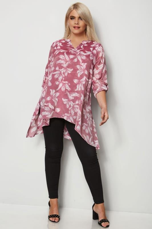 Pink & White Layered Blouse With Notch Neck & Dipped Hem