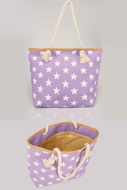 Purple & White Star Print Beach Bag With Rope Handles