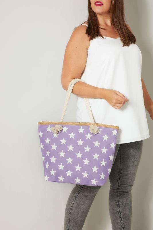 Plus Size Bags & Purses Purple & White Star Print Beach Bag With Rope Handles