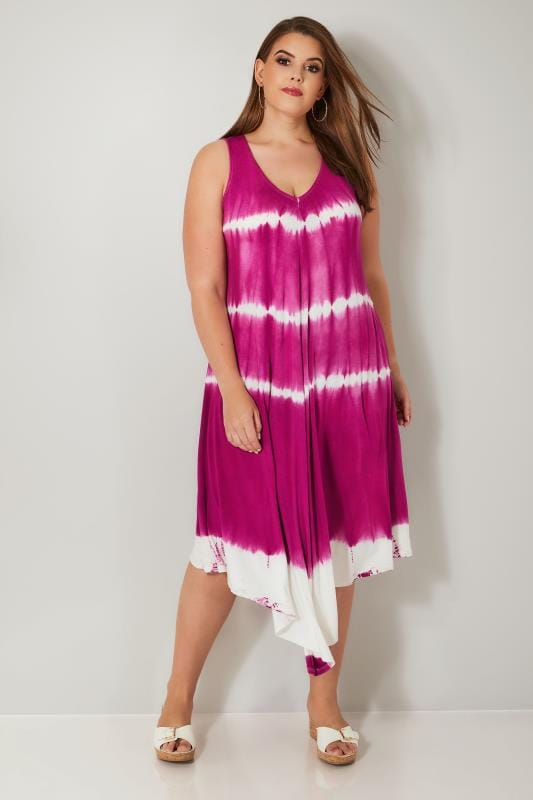 Plus Size Swing Dresses Dark Pink & White Tie Dye Jersey Swing Tunic Dress