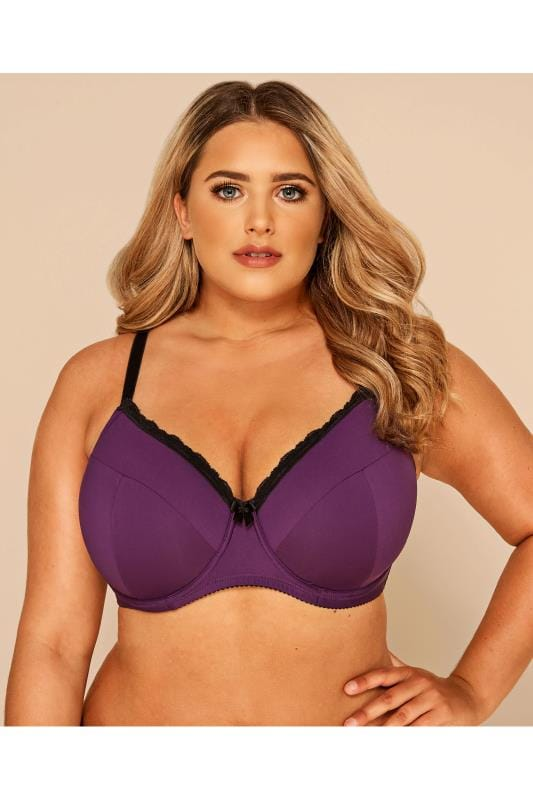 Plus Size T-Shirt Bras Purple Wired Lace T-Shirt Bra