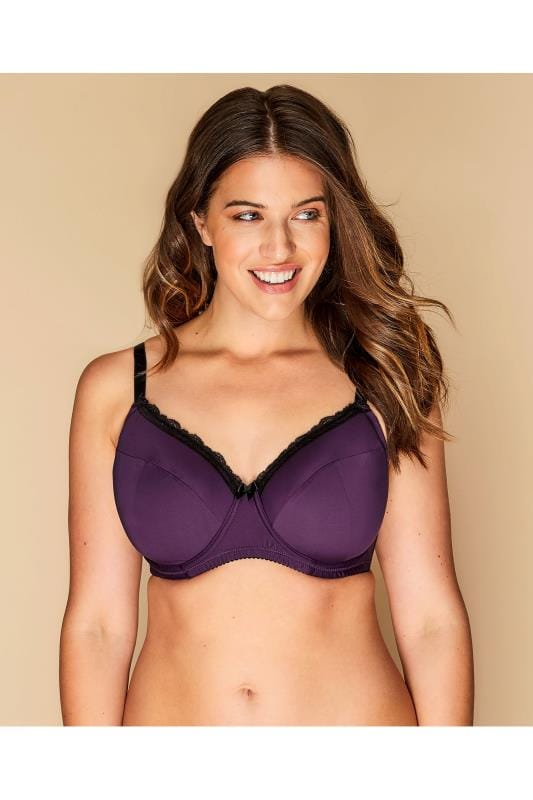 Plus Size Plus Size T-shirt Bras Purple Wired Lace T-Shirt Bra