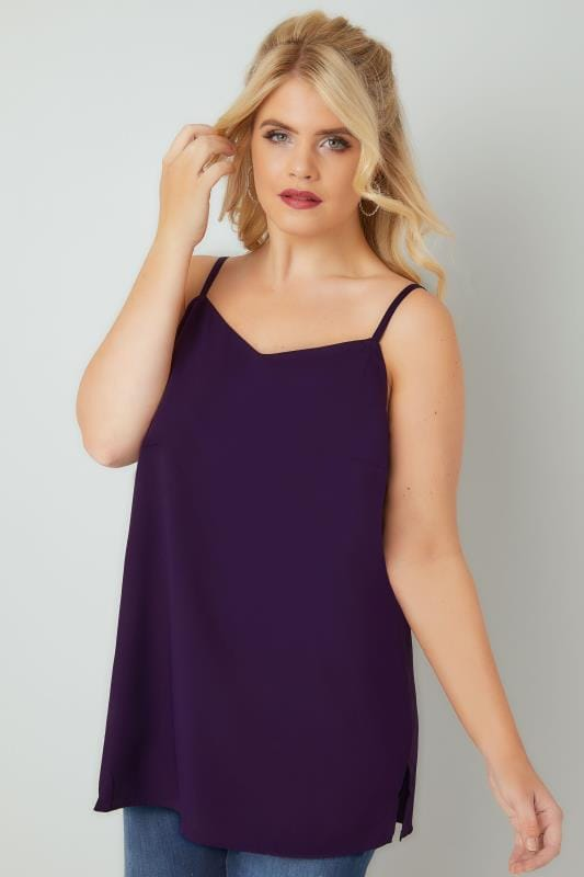 Plus Size Vests & Camis Purple Woven Cami Top With Side Splits